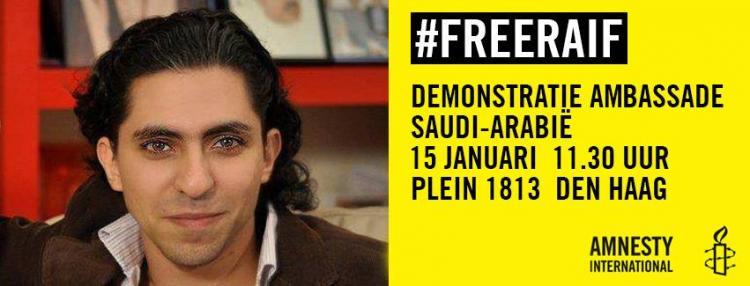 Den Haag: Demonstratie voor Raif Badawi